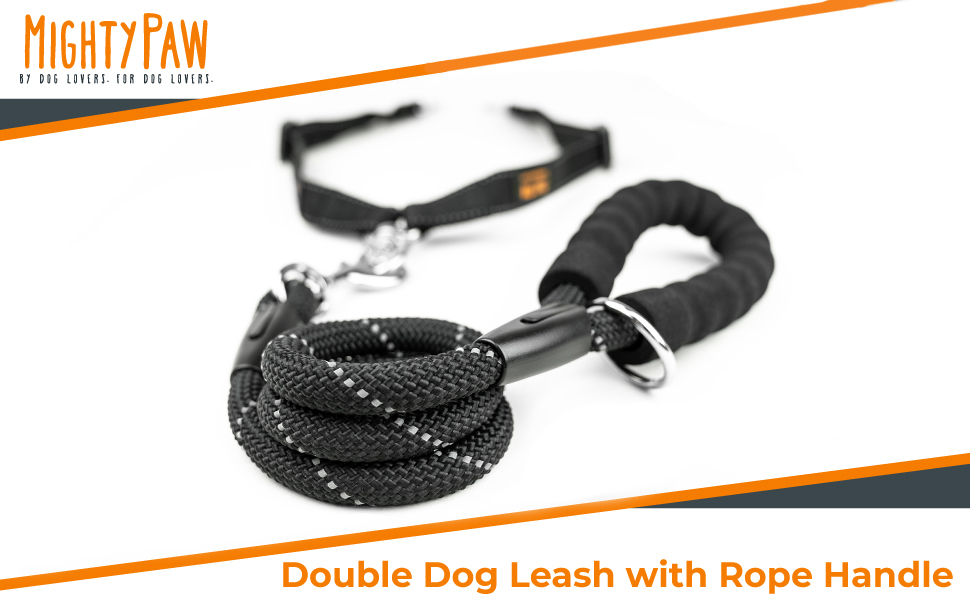 double leash with rope handle