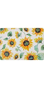 This set includes 4 matching Sunflower Print Cork Placemats, 16 x 12 x 0.175 inches