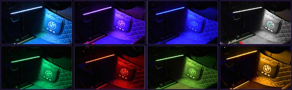 Aromujoy Auto Led Innenbeleuchtung Lichtleiste 4x18 Leds Rgb Innenraumbeleuchtung Atmosphäre Licht Mit Usb Port Drahtlose Fernsteuerung Fußraumbeleuchtung Led Auto