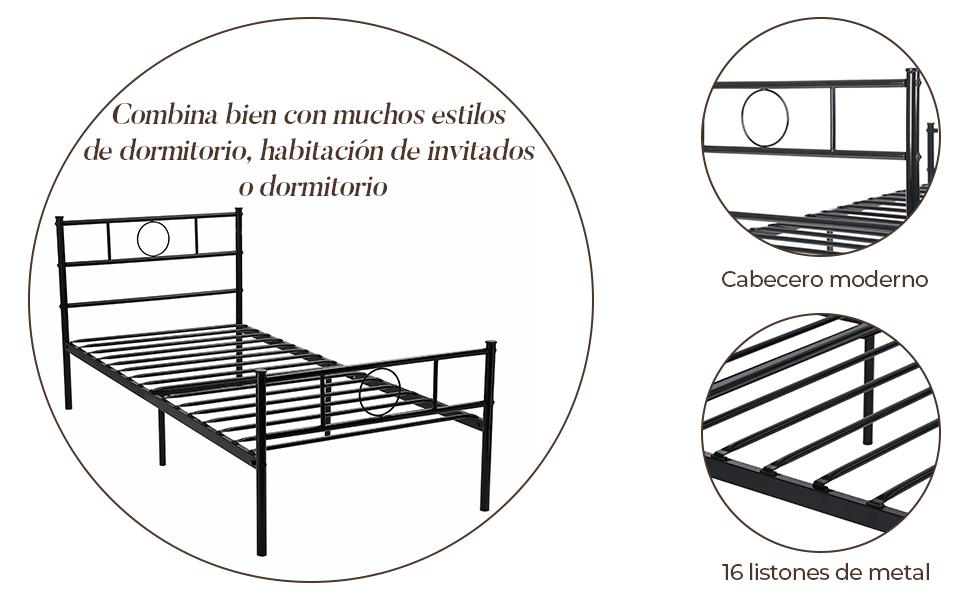 Aingoo Cama de Metal con somier Negro (90_x_190_cm)