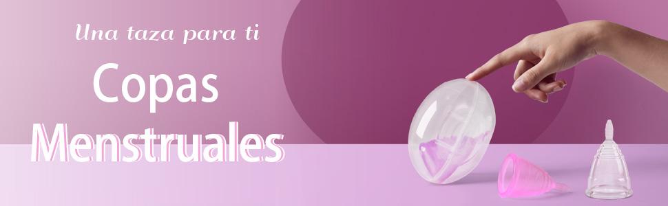Joybeau Paquete de 2 Copa Menstrual, Copa reutilizables de silicona de grado médico, súper cómodas y flexibles, se pueden usar durante 12 horas