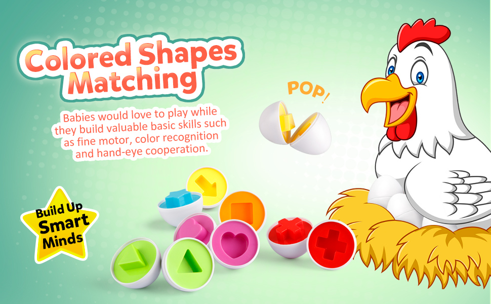 Matching Eggs 12 pcs Set Color & Shape Recoginition Sorter Puzzle