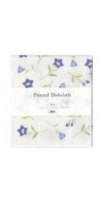 Nawrap Printed Dishcloth, Blue Flower