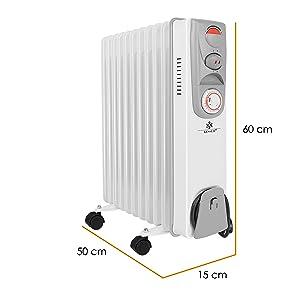 Elektrische Heizung mit 13 Rippen 2500W /Öl Radiator Elektroheizung Mobil Timer L/üfter Abschaltautomatik stufenlose Temperaturregelung /Überhitzungsschutz KESSER/® /Ölradiator