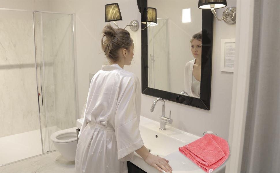 hair drying towel, hair turban, women, bathroom
