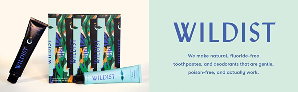 Wildist brand name and toothpaste tubes with boxes