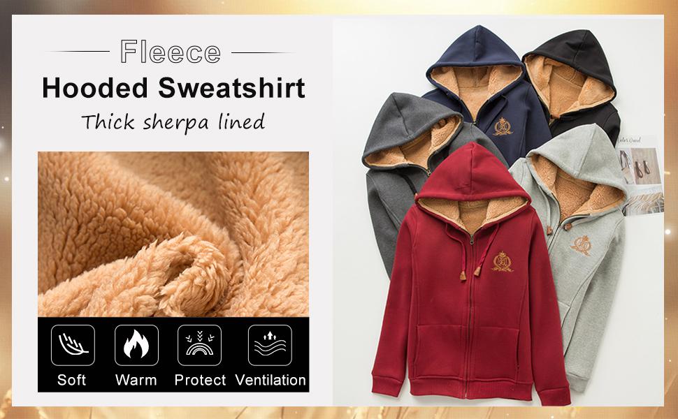 Flygo Women's Girls Winter Warm Fleece Hoodie Full Zip Sherpa Lined Sweatshirt