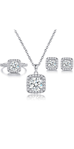 jewelry set,women jewelry set,engagement rings,necklace earrings set,white gold set