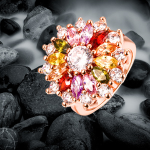 Multicolor Wine swiss zircon Rings rose gold Rings valentine gift for women