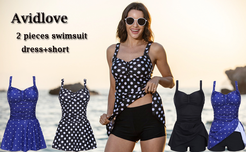Avidlove Women Tankini Set Two Pieces Swimsuits Ruched Tummy Control Bathing Suit Padded Tankini Top with Shorts