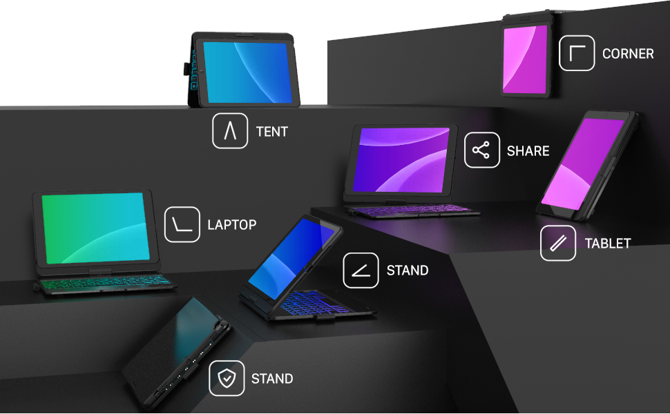7 modes, beautiful scene, ipad cases with keyboards