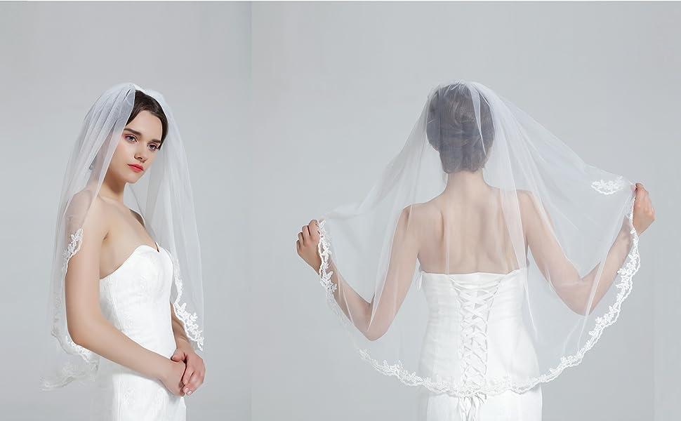 BEAUTELICATE Voile de Mariage Mari/ée 1 Couche Simple Ivoire Blanc Avec Peigne en M/étal Court Long Dentelle Broderie