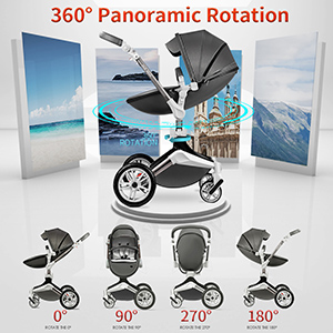 smart - Baby Stroller 360 Degree Rotation Function,Hot Mom Baby Carriage Pu Leather Pushchair Pram 2020,Grey