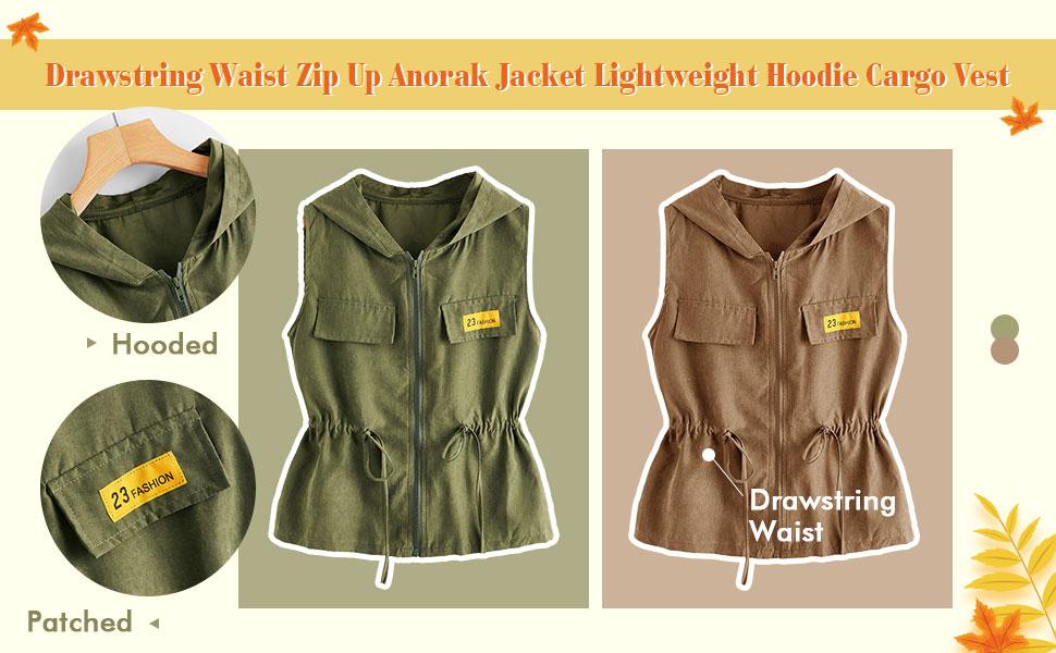 Casual Drawstring Waist Zip Up Anorak Jacket Lightweight Hoodie Cargo Vest