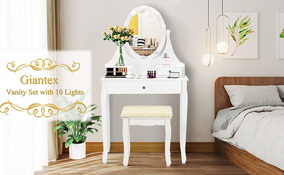 Makeup Dressing Table with Large Drawer and 360° Rotating Mirror