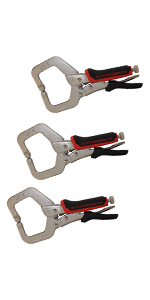 """6"""" C-clamp Locking Plier without Swivel Pads, 3-Piece"""