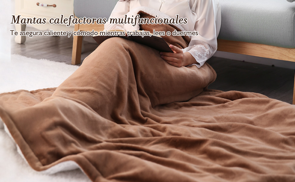 manta electrica térmica grande cama sofa temporizador espalda pequena