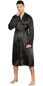YAOMEI Mens Dressing Gown Bathrobe Kimono Full Length, Mens Long Sleeves Robes Sleepwear Nightwear