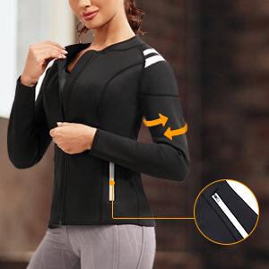 SCARBORO Women Neoprene Sauna Suits Long Sleeve Running Workout Jacket -09