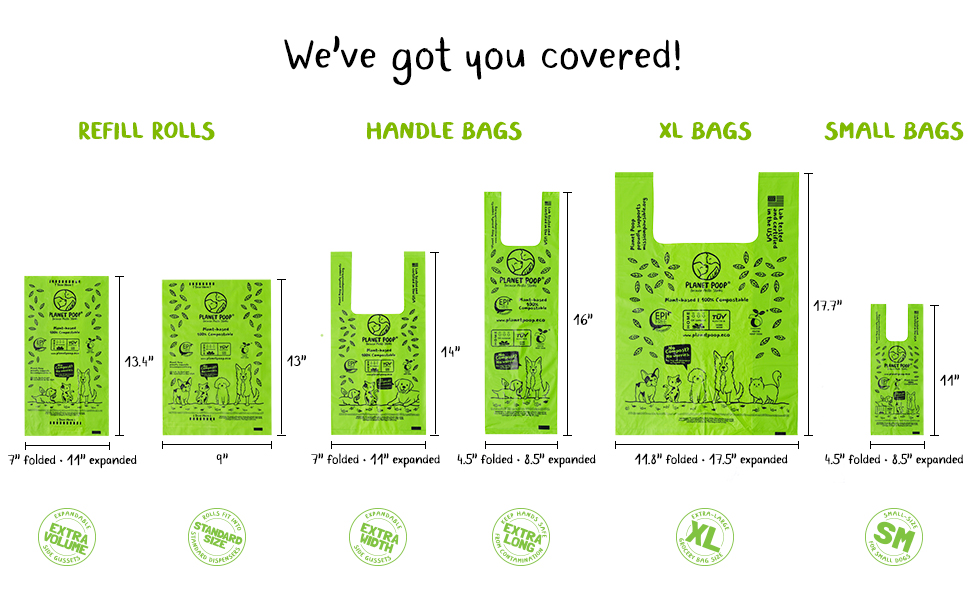 Planet Poop Compostable Pet Waste Bags Dog Doggie Biodegradable Refill Handle XL Small