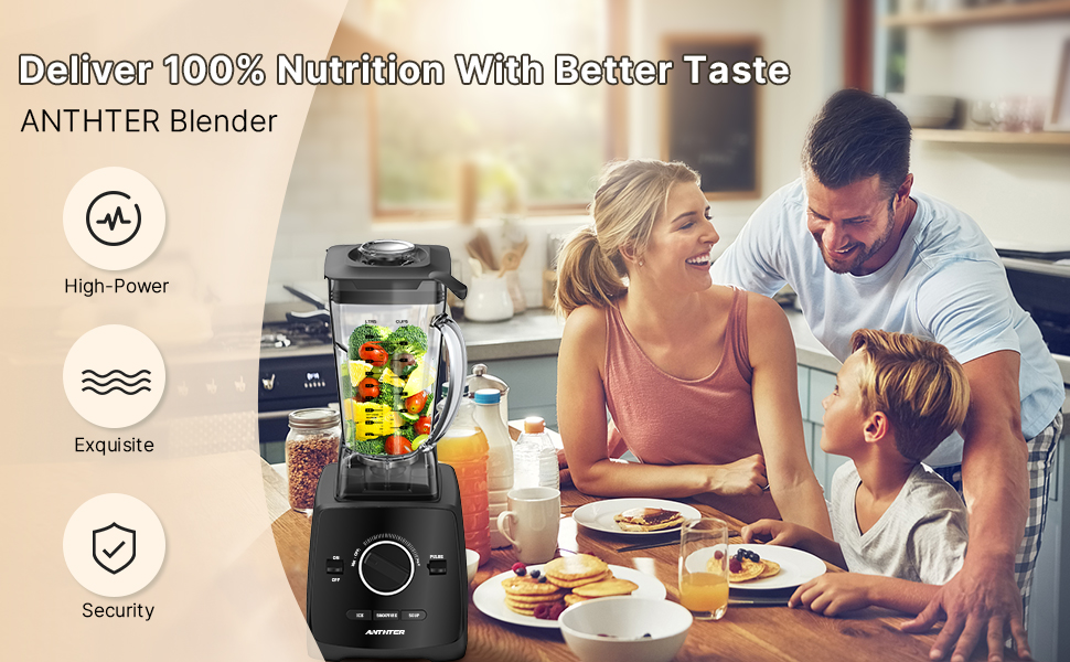 home kitchen professional high power blender with pulse function smoothie frozen yogurt ice crush
