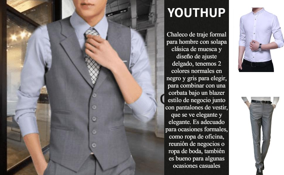 YOUTHUP Chaleco para Hombre Elegantes Chalecos de Traje Negro y ...