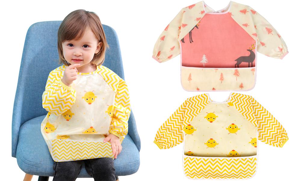 Cute 5pcs Baby Toddler Coverall Art Apron Waterproof Long Sleeves Bibs Best Gift