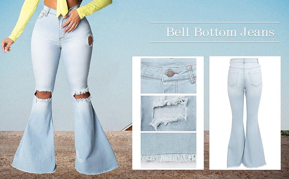 flare bell bottom jeans for women