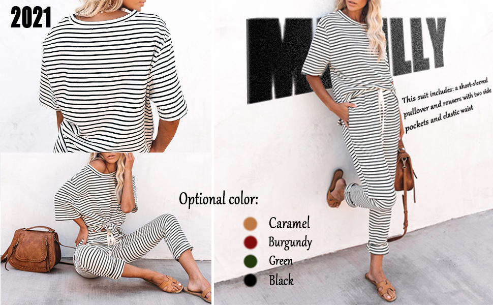 Striped 2 Piece Outfits