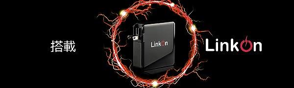 LinkOn 136W GaN壁充電器USB C Powered by Black Background