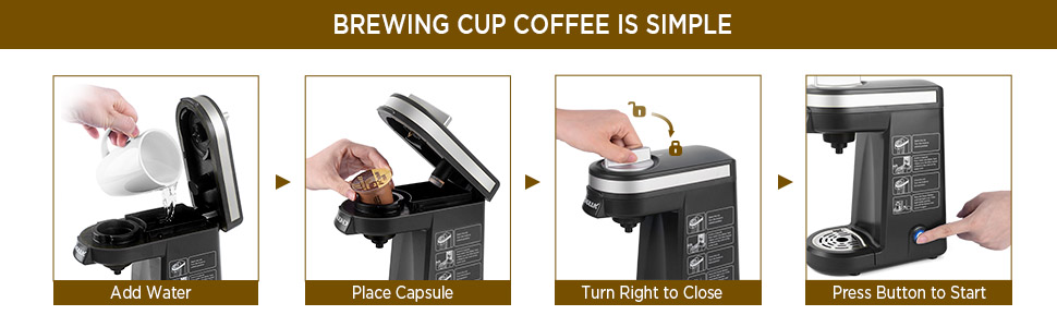The steps of brewing coffee