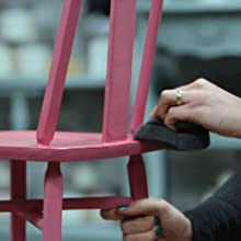 pink chalk painted chair painting sponge and clear coat satin poly top coat furniture sealant