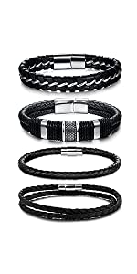 LOLIAS 4PCS Magnetic-Clasp Braided Leather Bracelets for Men Wrap Leather