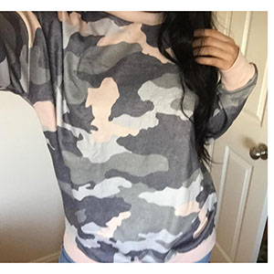 camo printed patchwork pullover camo tops for women pink camo womens fashiontopscamo tunic for women