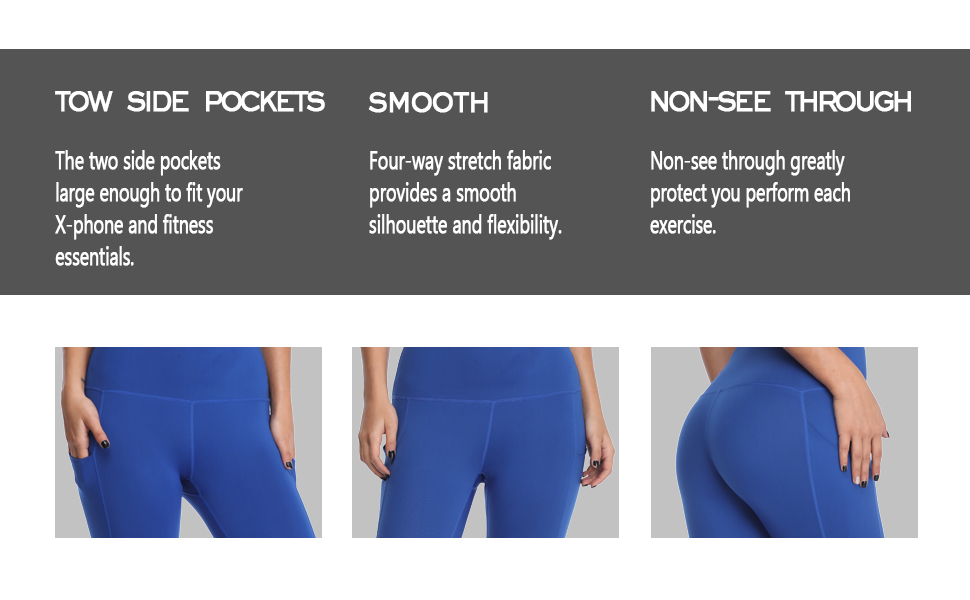 Workout/Fitness/Daily life/tow side pockets/Four-way stretch fabric/