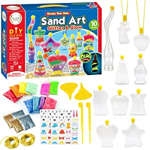 Picture of a Sand Art Kit box showing its contents by Fine Quality Products.