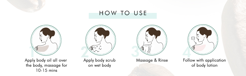 how to use apply body oil and massage apply body scrub on wet body massage & rinse apply lotion