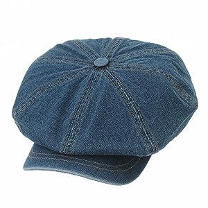 b4ece8c79 WITHMOONS Denim Cotton Newsboy Hat Baker Boy Beret Flat Cap KR3613