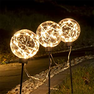 EAMBEITE 4PK Christmas Bulb Pathway Lights with 40 LED Bulbs Decoration for Holiday Christmas Stake Lights on Outdoor Patio Yards Driveways Pathways