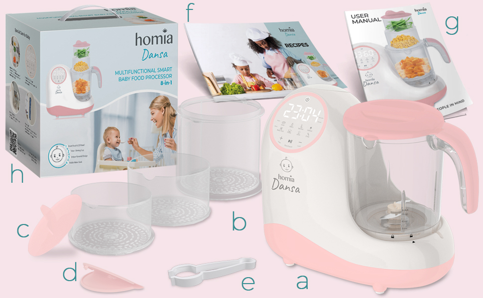 homia dansa baby food processor - Baby Food Maker Chopper Grinder - Mills And Steamer 8 In 1 Processor For Toddlers - Steam, Blend, Chop, Disinfect, Clean, 20 Oz Tritan Stirring Cup, Touch Control Panel, Auto Shut-Off, 110V Only