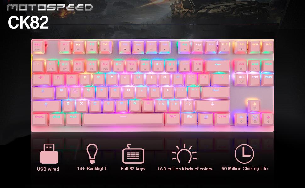 1  MOTOSPEED Professional Gaming Mechanical Keyboard RGB Rainbow Backlit 87 Keys Illuminated Computer USB Gaming Keyboard for Mac & PC Pink 3c6450cb fe4a 4192 bc2d 53ed60f0c487