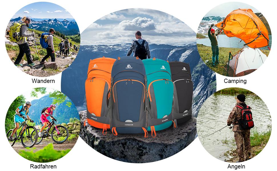 Skysbike GmbH Rucksack Reiserucksack Trekkingrucksack 40L//70+5L//80L Sport Wanderrucksack Leicht Wasserdicht