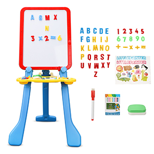 5 - STEAM Life Art Easel For Kids 4 In 1 Magnetic Board, Chalkboard, Painting Easel, And Drawing White Board For Kids Toddler Includes Magnetic Letters And Numbers Easy Storage And Adjustable Height