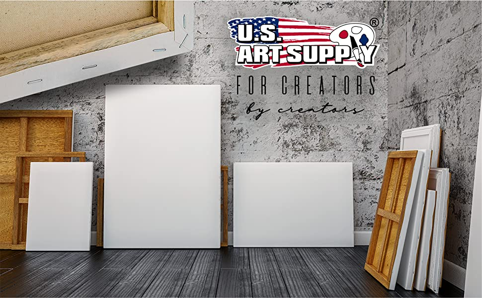 U.S. Art Supply Artist Cotton Acid Free Painting Primed Stretched Canvas