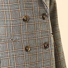 Women's Double Breasted Plaid Blazer Outwear Wales Checks Long Jacket Coat Gray Khaki