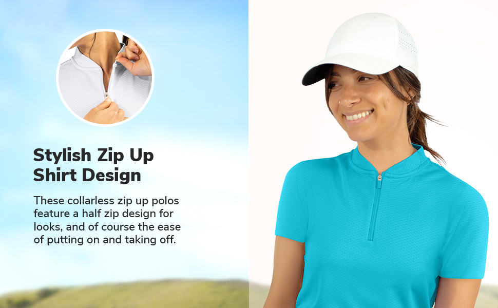Features a clean half way zip for style and easy on off action.