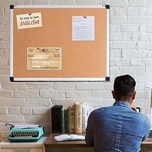 cork board, bulletin board, pin board.