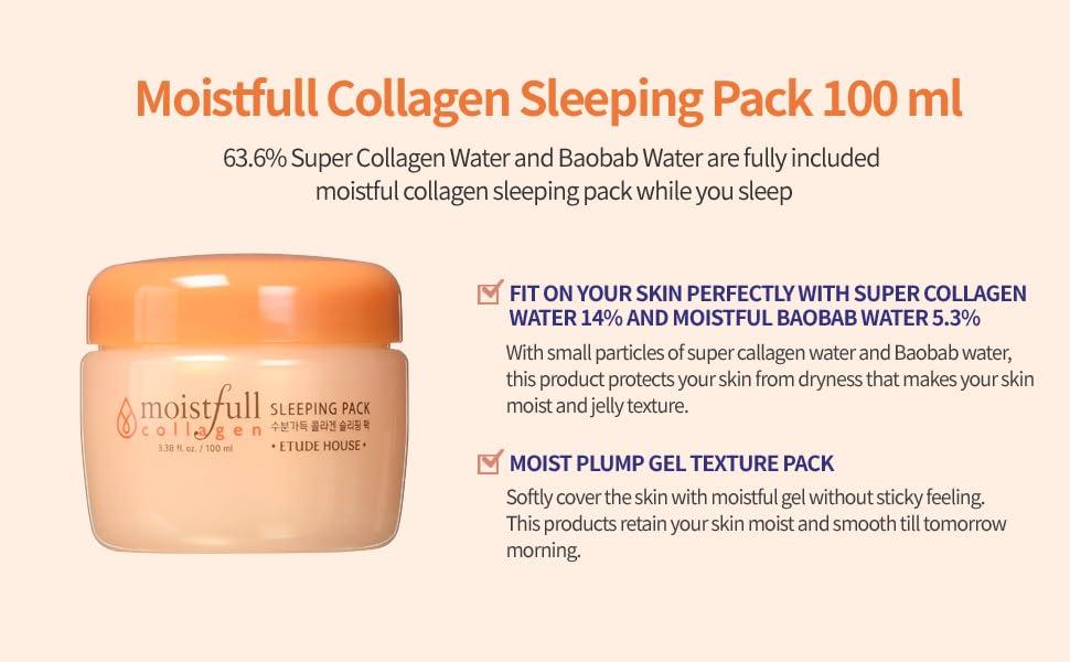Moistfull Collagen Sleeping Pack, 3.38 Ounce