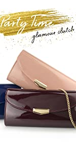 glossy patent leather evening clutch