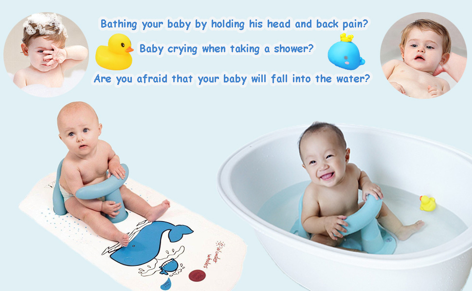 Mat Pad Non-slip Safety w// Heat Sensitive Infant Baby Kids Bath Tub Seat Ring